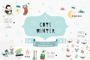Cute winter. Graphic set. -40% OFF!