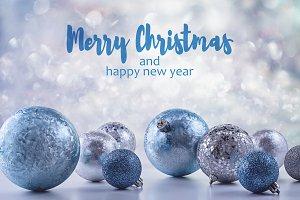 Festive blue Christmas balls.