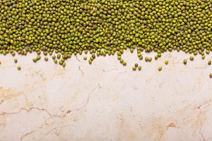 Green Lentils on the table. This