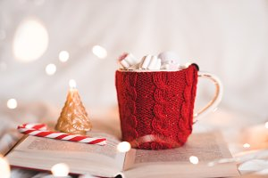 Christmas knitted cup