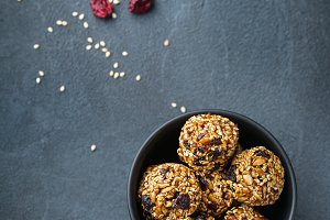 Handmade protein energy balls, super