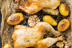 Roasted chicken with spices, herbs,