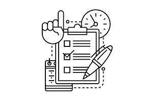 Checklist icon with pen, clock, cale