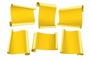 Blank scrolls of Gold paper stickers