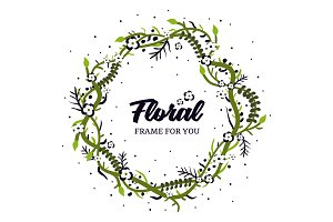 Foral Frame spring design vector