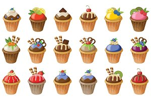 Set of cupcakes.