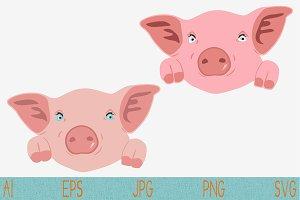 cute pig cartoon svg set vector png