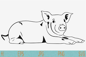 cute pig lying svg vector png