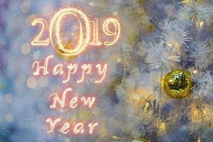 Happy new year 2019 written with Spa