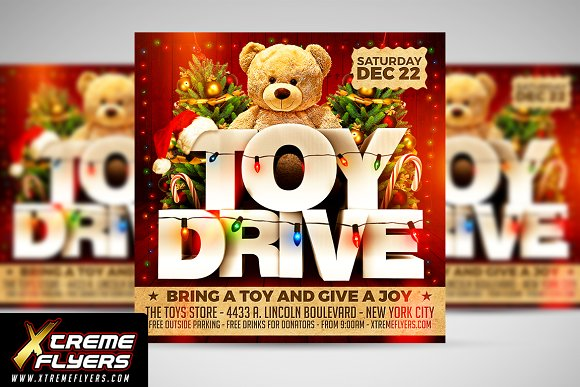 toy drive flyer template flyer templates creative market