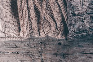 Knitting wool  ooden background