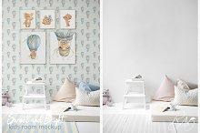 PSD Nursery mockup Kids room mockup