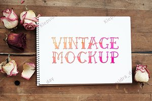 Vintage mockup with roses