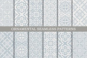 12 ornament seamless vector patterns