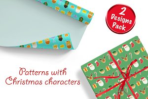 Patterns with Christmas characters