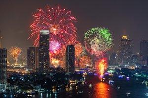 Fireworks of Loi Krathong festival i