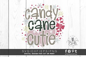 Candy Cane Cutie SVG DXF EPS PNG