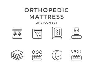 Set line icons of orthopedic mattres
