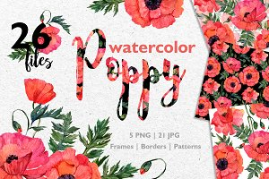 Red Poppy Watercolor PNG JPG
