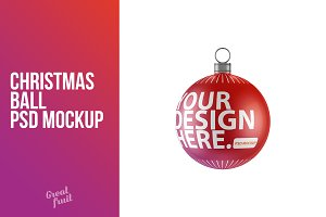 Christmas Ball Decoration PSD Mockup
