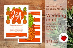 Awesome Pineapple Wedding Card