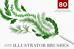 Green Christmas Holiday Art Brushes