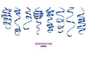 Shiny blue serpentine on white