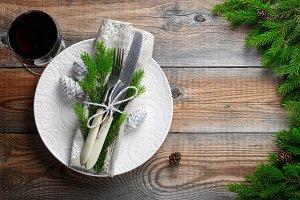 Christmas table setting with christm