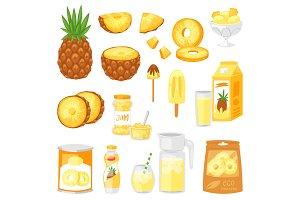 Pineapple vector fresh healthy pine