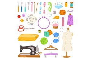 Sewing vector tailor tools sew