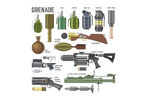 Gun vector military weapon grenade