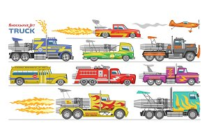 Jet truck vector afterburning race