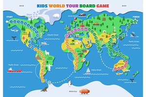 Board game vector world gaming map