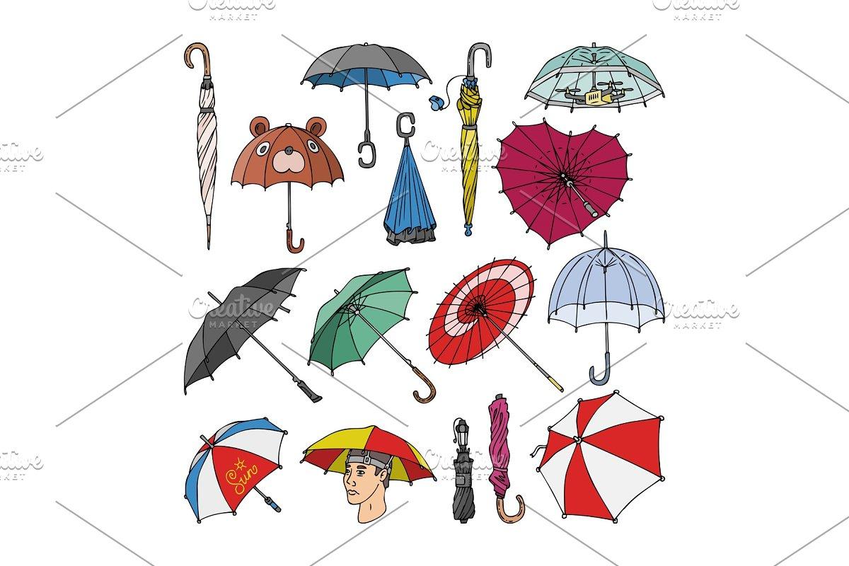 6da59e880c599 Umbrella vector umbrella-shaped ~ Graphic Objects ~ Creative Market
