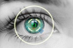bionic eye or security scan Black