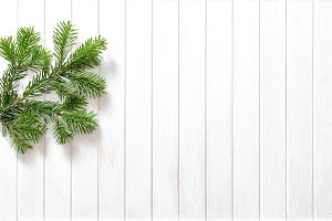 Christmas tree branches wooden