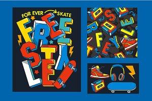 skate slogan vector design
