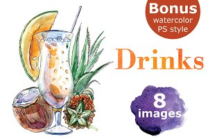 Watercolor drinks vector set