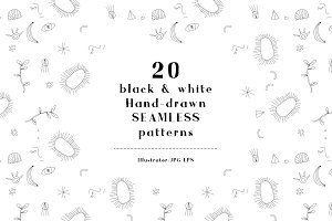 20 B&W hand drawn SEAMLESS PATTERNS