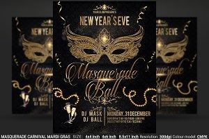 Masquerade Carnival Mardi Gras Flyer