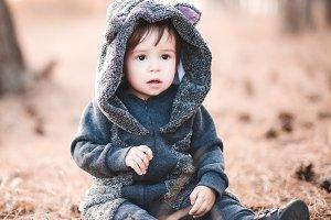 Cute baby wearing hoody