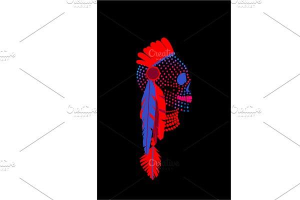 African skull halftone neon color ba