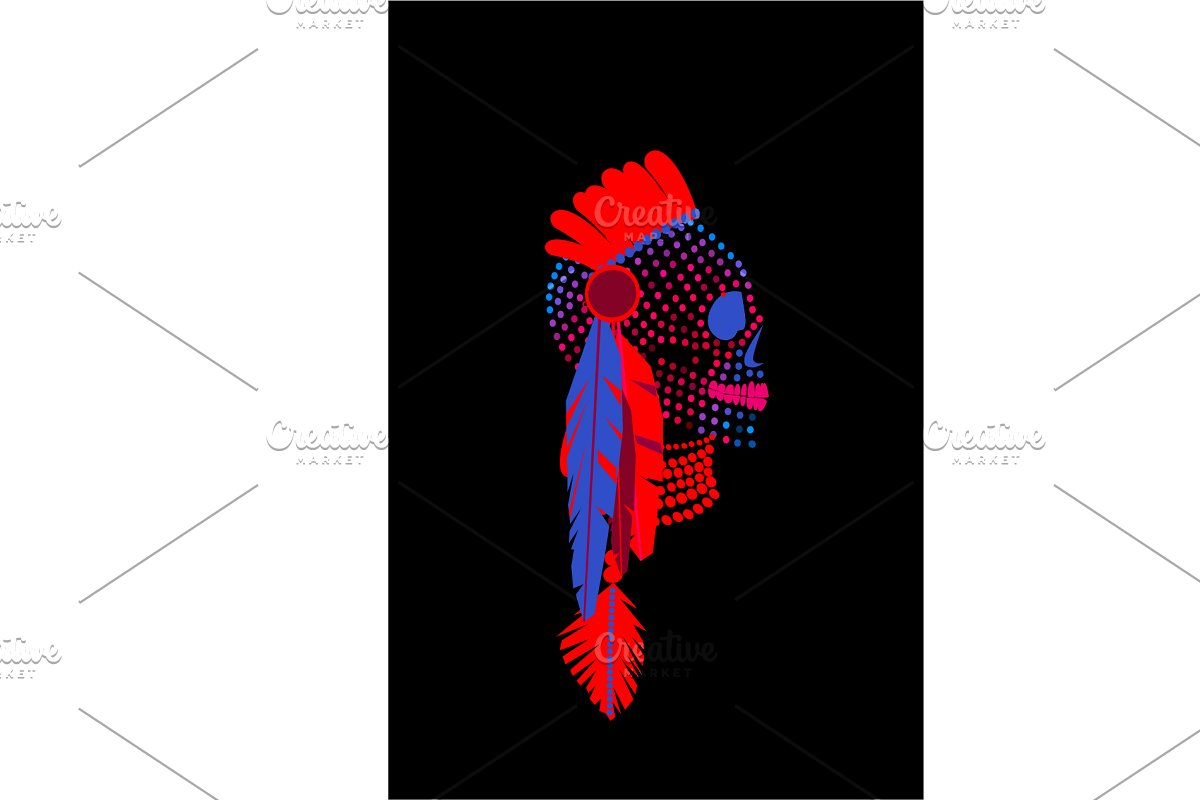 African skull halftone neon color ba in Graphics - product preview 8