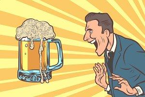 happy man and beer mug