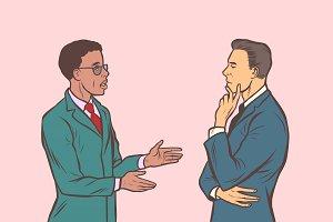 Two businessmen talking. Multi
