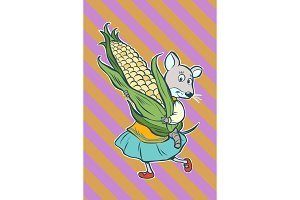Mouse fantastic character with corn