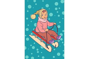 child on a sled. winter holiday