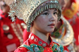 Chinese Lady Traditional Red Dress