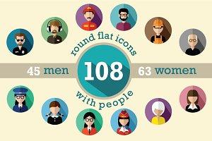 108 flat round avatar icons
