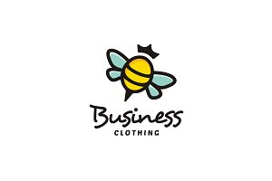 Colorful Cute Bee Queen logo design